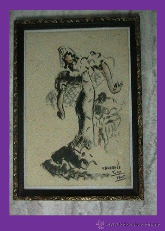 ACUALERA BAILARINA FLAMENCO (Arte - Acuarelas - Contemporáneas siglo XX)