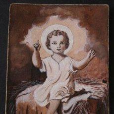 Arte: BONITO DIBUJO ANTIGUO DEL NIÑO JESUS - ACUARELA?. Lote 56099072