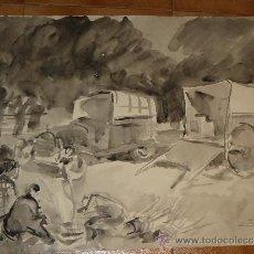 Arte: AGUADA - FIRMADA MIRALLES - PERPIGNAN - CAMPAMENTO DE GITANOS - 1966. Lote 35500963