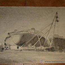 Arte: AGUADA - FIRMADA MIRALLES - VILANOVA-PUERTO,GRUA,BARCOS - 1969. Lote 35518736