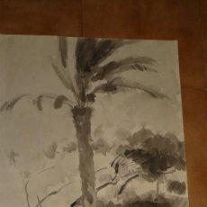 Arte: AGUADA - FIRMADA MIRALLES - SITGES, JARDIN LA RIBERA. - 1968. Lote 35518881