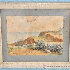 Arte: JOAN SERRA I PAUSAS (BARCELONA SG.XIX) ACUARELA. VISTA DE UNA MARINA CON MILITARES DE FONDO. Lote 36010859