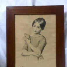 Arte: V. HERAS, 27 DE ENERO DE 1889.- PRECIOSO DIBUJO DE EPOCA, ENMARCADO.. Lote 35589859