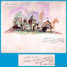 Arte: OLIVA MICHELENAS, CIRILO JOSÉ (CUBA 1892-1967).- ACUARELA, THE LITLE CHURCH EN N.YORK 1947 -17 X 20. Lote 35640880