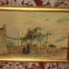 Arte: O2-009. ACUARELA/PAPEL FIRMADA 'AMADO' (1844-1888) REPRESENTANDO PAISAJE RURAL. Lote 35671268