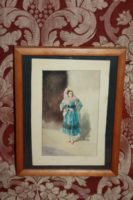 O2-018. ACUARELA FIRMADA 'R. AMADO' (1844-1888) REPRESENTANDO DAMA PARIS 1873 (Arte - Acuarelas - Modernas siglo XIX)