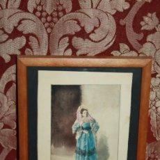 Arte: O2-018. ACUARELA FIRMADA 'R. AMADO' (1844-1888) REPRESENTANDO DAMA PARIS 1873. Lote 35671373