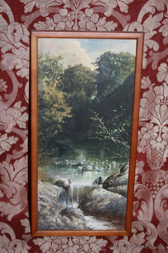 E2-015. ACUARELA DE 'RAMON AMADO Y BERNADET' (1844-1888) REP. PAISAJE FLUVIAL CON CASCADA (Arte - Acuarelas - Modernas siglo XIX)