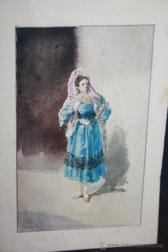 Arte: O2-018. ACUARELA FIRMADA R. AMADO (1844-1888) REPRESENTANDO DAMA PARIS 1873 - Foto 2 - 35671373