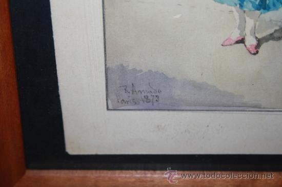 Arte: O2-018. ACUARELA FIRMADA R. AMADO (1844-1888) REPRESENTANDO DAMA PARIS 1873 - Foto 3 - 35671373