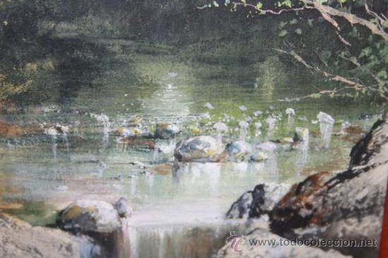 Arte: E2-015. ACUARELA DE RAMON AMADO Y BERNADET (1844-1888) REP. PAISAJE FLUVIAL CON CASCADA - Foto 5 - 35671474