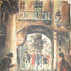 Arte: CALLE CAPUCHAS (CAPUTXES). BARCELONA. PERE ARAGAY NIN. FIRMADA. FECHADA. 1950. ACUARELA. 35X25,5 CM. Lote 36221114