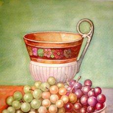 Arte: ACUARELA DE ALTA CALIDAD CON BONITOS COLORES, BODEGON DE M. RIGUELME - MEDIDAS 40X31. Lote 36033994
