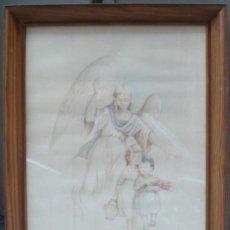 Arte: DIBUJO DE ÁNGEL CON NIÑOS. MARCO:56X71 CM. FIRMA ILEGIBLE, .. Lote 36120370