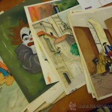 Arte: 25 ACUARELAS , MAGNIFICO PINTOR A. GALVEZ, CADIZ CON MULTIPLES OBRAS EXPUESTAS, BOCETOS .... Lote 36105546
