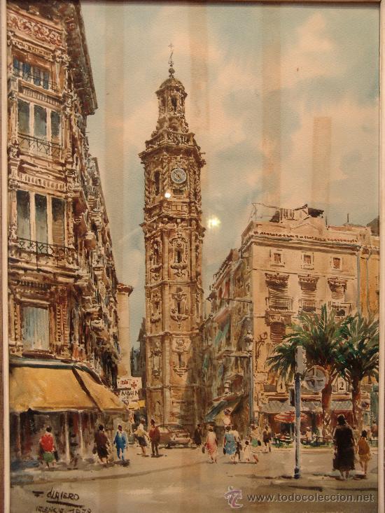 PRECIOSA ACUARELA DEL PRESTIGIOSO PINTOR MALAGUEÑO FRANCISCO CLAVERO (Arte - Acuarelas - Contemporáneas siglo XX)