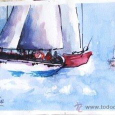 Arte: CUADRO ABELLAN CON FIRMA ACUARELA BARCO VELA . Lote 36453812