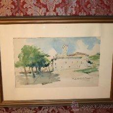 Arte: A1-033. ACUARELA DE CARLOS BÉCQUER (1889-1968) PLAZA DE LA IGLESIA FIRMADA. Lote 36605764