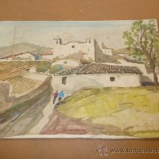 Arte: ILEGIBLE. ACUARELA DE VISTA DE PUEBLO.. Lote 36695199