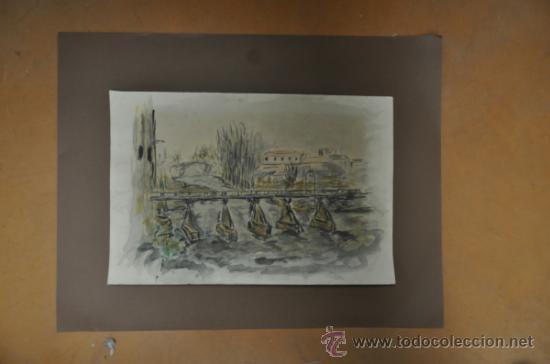 ACUARELA DE FIRMA ILEGIBLE (Arte - Acuarelas - Contemporáneas siglo XX)