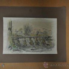 Arte: ACUARELA DE FIRMA ILEGIBLE. Lote 36835060