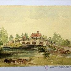Arte: PRECIOSO PAISAJE EN ACUARELA DE FINALES DEL SIGLO XIX, CIRCA 1880, MUY BIEN EJECUTADO. Lote 36945247