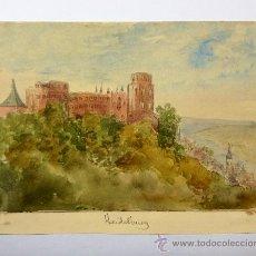 Arte: MARAVILLOSO PAISAJE EN ACUARELA DEL CASTILLO RENACENTISTA DE HEILDELBERG, CIRCA 1860. Lote 36945358