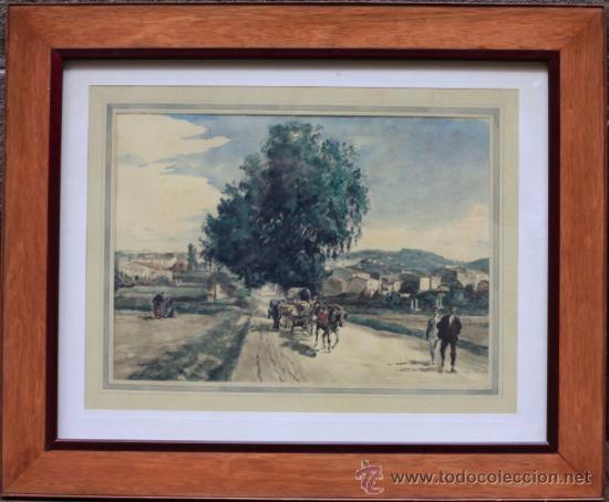 JOAN COLOM (ARENYS DE MAR, 1879-1969). DIBUJO A COLOR 51X36CM. MARCO: 80X67CM. (Arte - Acuarelas - Contemporáneas siglo XX)
