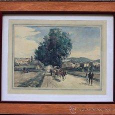 Arte: JOAN COLOM (ARENYS DE MAR, 1879-1969). DIBUJO A COLOR 51X36CM. MARCO: 80X67CM.. Lote 36982596