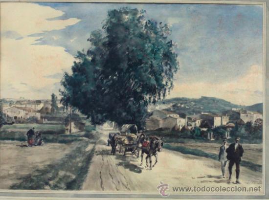 Arte: Joan Colom (Arenys de Mar, 1879-1969). Dibujo a color 51x36cm. Marco: 80x67cm. - Foto 4 - 36982596