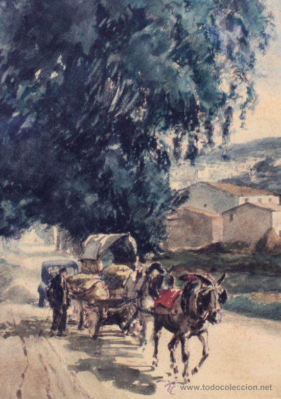 Arte: Joan Colom (Arenys de Mar, 1879-1969). Dibujo a color 51x36cm. Marco: 80x67cm. - Foto 2 - 36982596