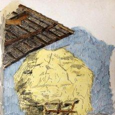 Arte: PRECIOSA ACUARELA CON GRAN DETALLE Y MINUCIOSIDAD, FIRMADA Y FECHADA R.B. SEPT. 1908. Lote 37114767