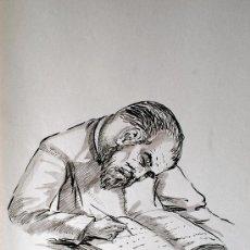 Arte: DIBUJO ORIGINAL A TINTA Y ACUARELA. LEONARDO, ARANAU DE MARRON Y SASTRE (SINEU). Lote 37275791