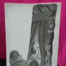 Arte: LUISA BUTLER. BOCETO, DIBUJO ACUARELA ORIGINAL -LA CALLE DESCONOCIDA-.FANTASIA Nº 6. Lote 37391758