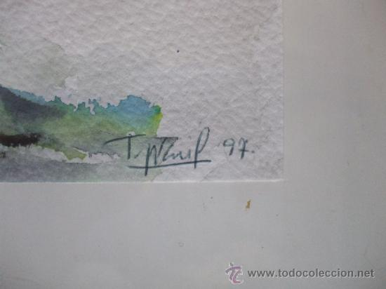 Arte: CUADRO ACUARELA FLORES, FIRMADA Y DATADA - Foto 3 - 37480981