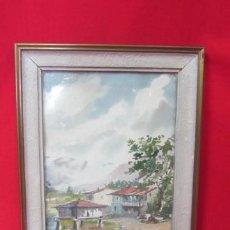 Arte: ACUARELA FIRMADA. PUEBLO GALLEGO CON HORREO.. Lote 37597892