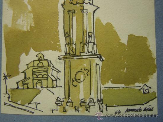 Arte: DIBUJO A TINTA Y ACUARELA DE LA CATEDRAL DE LA SEO DE ZARAGOZA. FIRMADO ARMANDO ARTAL. AÑO 64 - Foto 2 - 37811422