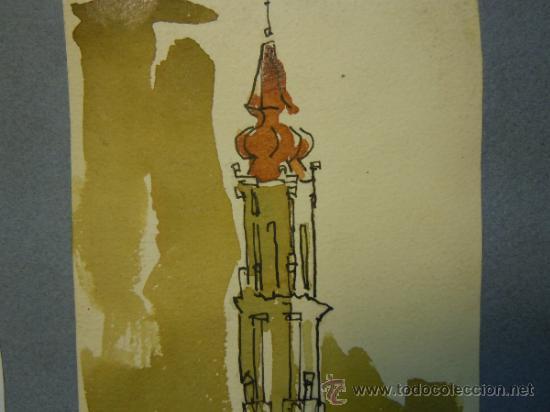 Arte: DIBUJO A TINTA Y ACUARELA DE LA CATEDRAL DE LA SEO DE ZARAGOZA. FIRMADO ARMANDO ARTAL. AÑO 64 - Foto 5 - 37811422
