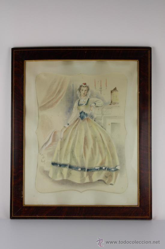 B3-021. JOSE LUIS FLORIT RODERO (1909-2001) DAMA ACUARELA SOBRE PAPEL 33.5*44 CM. (Arte - Acuarelas - Contemporáneas siglo XX)
