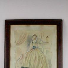 Arte: B3-021. JOSE LUIS FLORIT RODERO (1909-2001) DAMA ACUARELA SOBRE PAPEL 33.5*44 CM.. Lote 38131068