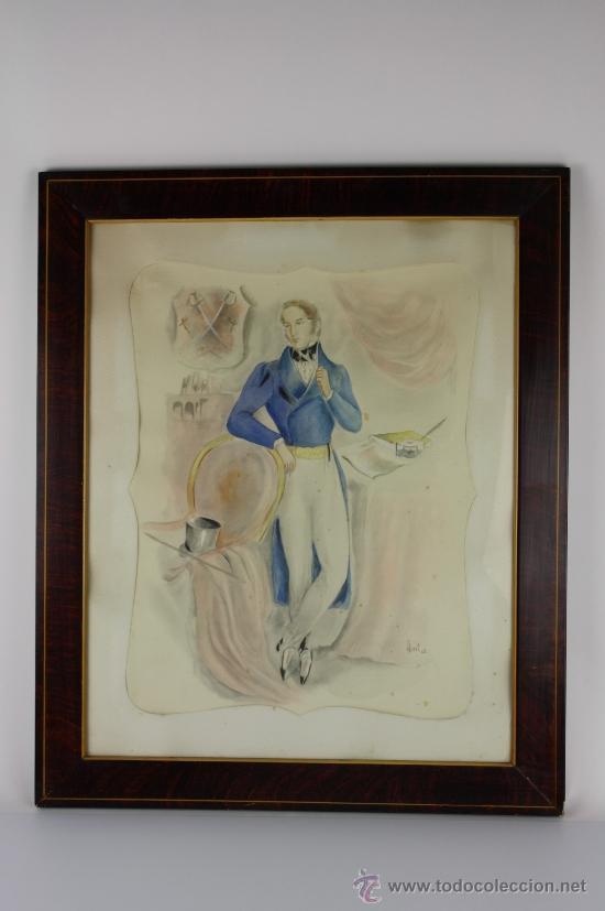 B3-020. JOSE LUIS FLORIT RODERO (1909-2001) CABALLERO ACUARELA SOBRE PAPEL 33.5*44 CM. (Arte - Acuarelas - Contemporáneas siglo XX)