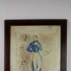 Arte: B3-020. JOSE LUIS FLORIT RODERO (1909-2001) CABALLERO ACUARELA SOBRE PAPEL 33.5*44 CM.. Lote 38131120