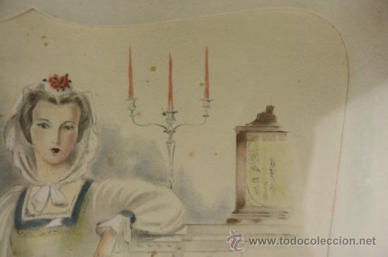 Arte: B3-021. JOSE LUIS FLORIT RODERO (1909-2001) DAMA ACUARELA SOBRE PAPEL 33.5*44 CM. - Foto 6 - 38131068