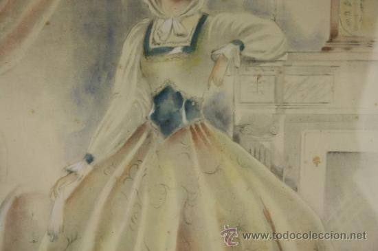 Arte: B3-021. JOSE LUIS FLORIT RODERO (1909-2001) DAMA ACUARELA SOBRE PAPEL 33.5*44 CM. - Foto 7 - 38131068