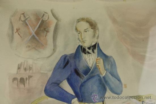 Arte: B3-020. JOSE LUIS FLORIT RODERO (1909-2001) CABALLERO ACUARELA SOBRE PAPEL 33.5*44 CM. - Foto 3 - 38131120