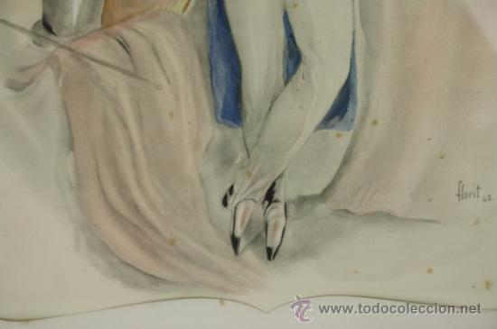 Arte: B3-020. JOSE LUIS FLORIT RODERO (1909-2001) CABALLERO ACUARELA SOBRE PAPEL 33.5*44 CM. - Foto 5 - 38131120