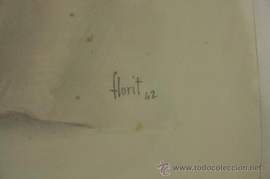 Arte: B3-020. JOSE LUIS FLORIT RODERO (1909-2001) CABALLERO ACUARELA SOBRE PAPEL 33.5*44 CM. - Foto 6 - 38131120