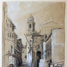 Arte: BRILLANTE ESCENA DE UN PUEBLO, MEDIADOS DEL XIX, CIRCA 1860, GRAN DETALLISMO Y MINUCIOSIDAD. Lote 38167298