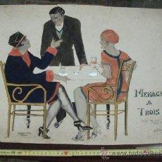 Arte: DIBUJO A TINTA Y ACUARELA, ARDECO, MENAGE A TROIS, CARICATURA FIRMADA ALFREDO COELLO 1926. Lote 38269666