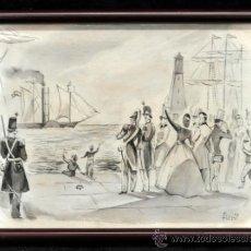 Arte: JOSÉ LUIS FLORIT RODERO (MADRID, 1909 - PARÍS, 2000) ACUARELA DE LOS AÑOS 50. Lote 38492137